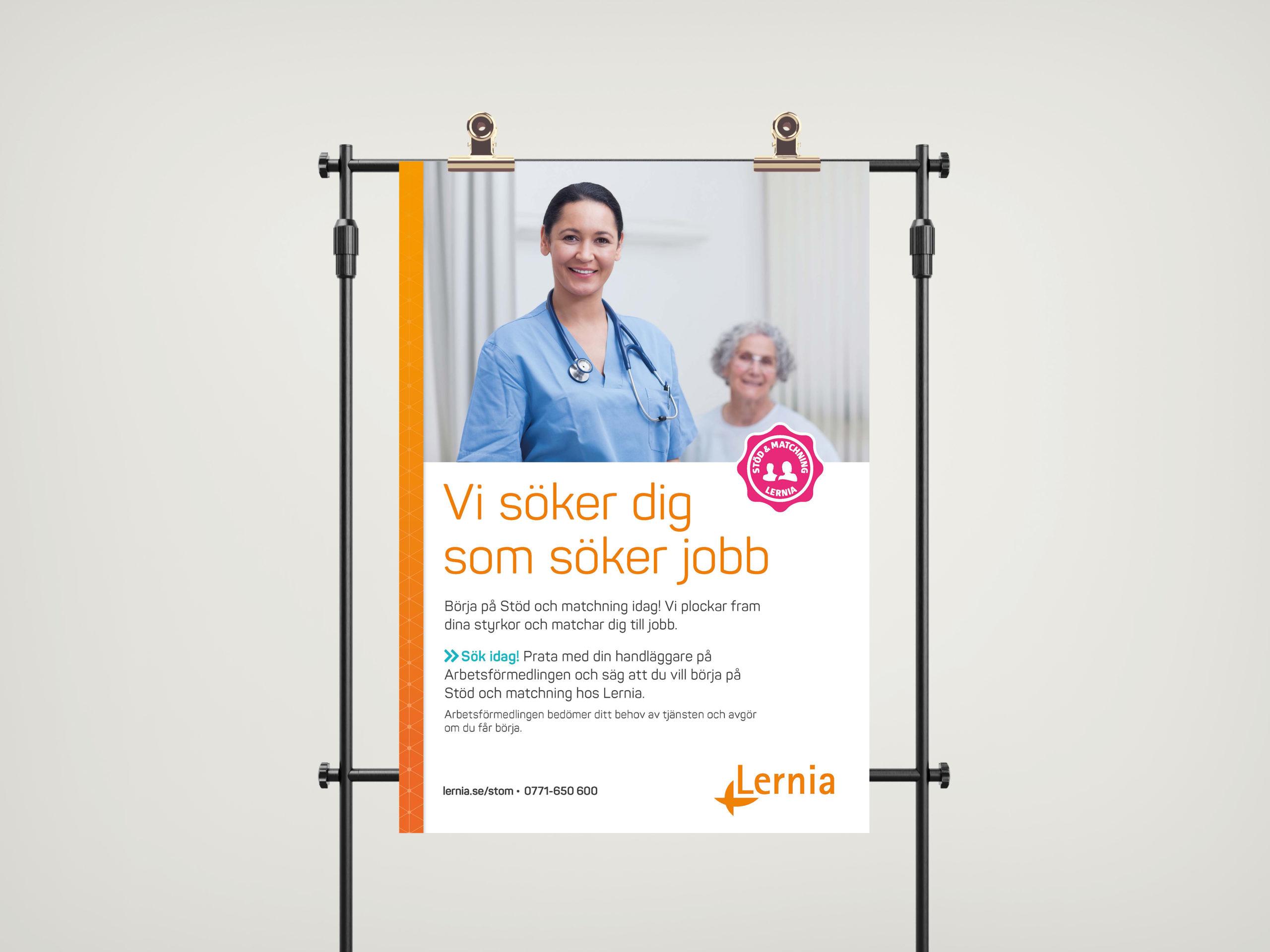 Flyer på svenska för Lernia Stöd och Matchning