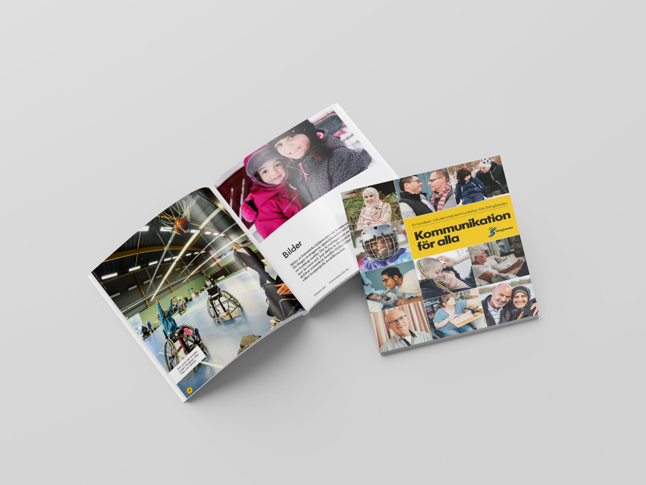 Stångåstadens inkluderingshandbok framsida och insida